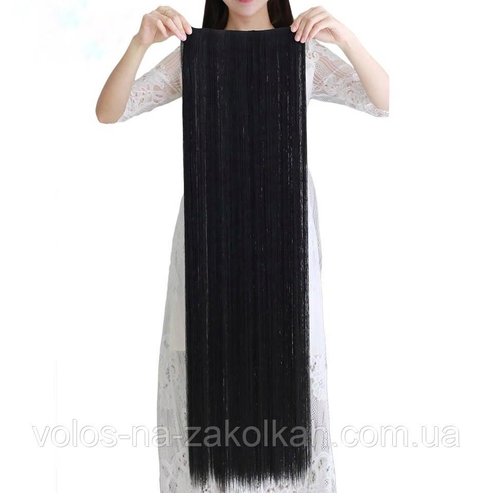 Тресса 100см длина волосы на ленте черные длинные широкая одиночная прядь 100см