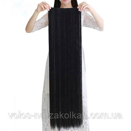 Тресса 100см длина волосы на ленте черные длинные широкая одиночная прядь 100см, фото 2