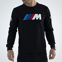 Толстовка мужская черная Puma BMW, свитшот мужской на флисе черный