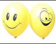 Воздушные латексные шарики Улыбки Смайлики желтые