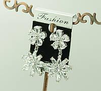 Серьги цветы с кристаллами Сваровски. 85