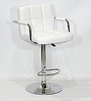 Барный стул Арно белый кожзам + хром с подлокотниками