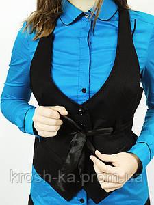 Жилет женский чёрный с атласным поясом(36)р Nysense Франция 95210