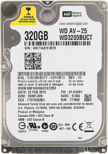 Жесткий диск Western Digital AV-25 320GB 5400rpm 16MB WD3200BUCT 2.5 SATA II