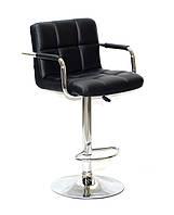 Барный стул Арно черный кожзам + хром с подлокотниками