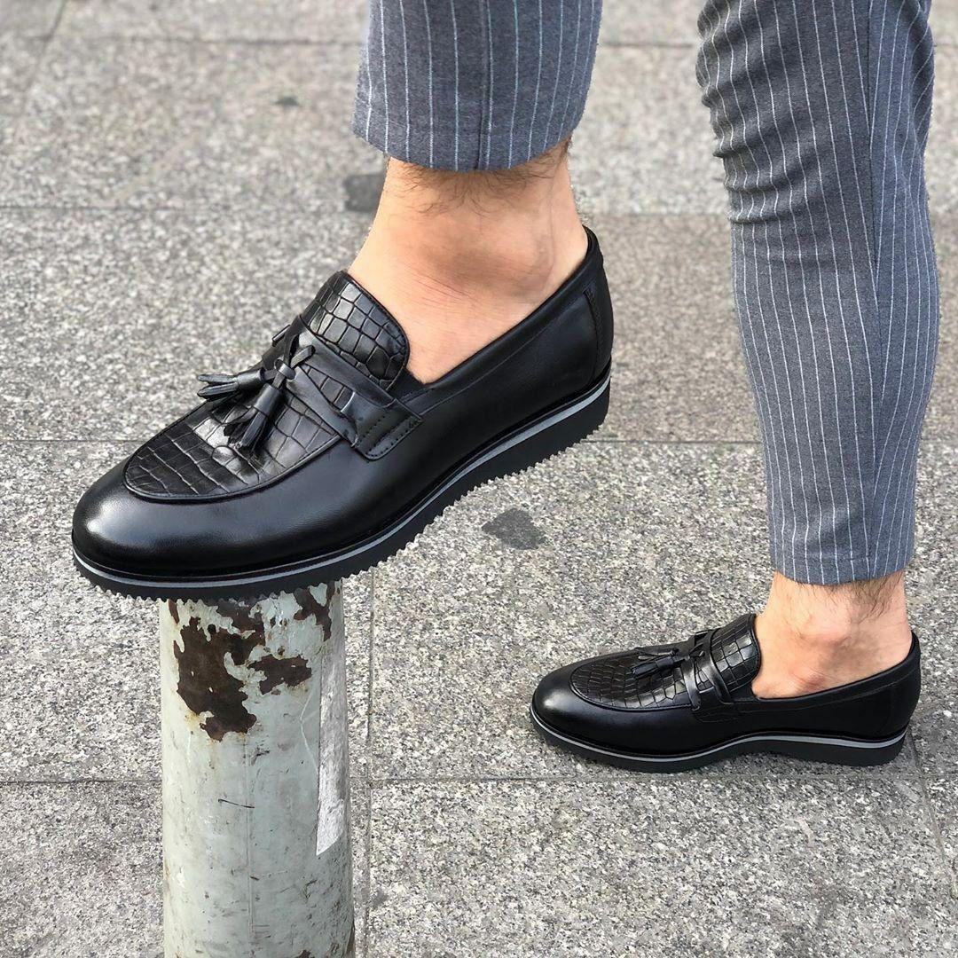 Мужские лоферы кожаные черные ok10