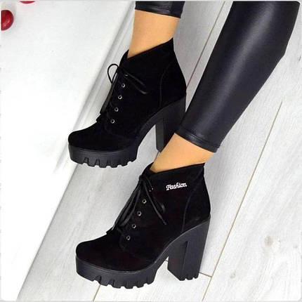 Ботинки со шнурком на каблуке натуральная замша байка, фото 2