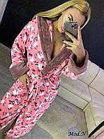 Женский длинный махровый халат с капюшоном хит продаж с котками