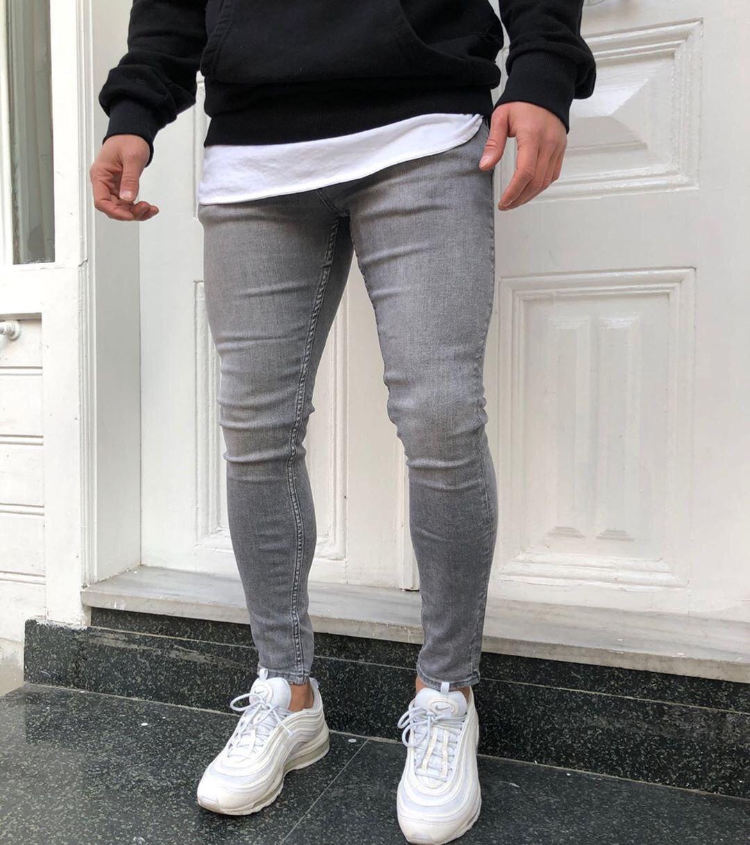 укороченные зауженные джинсы мужские