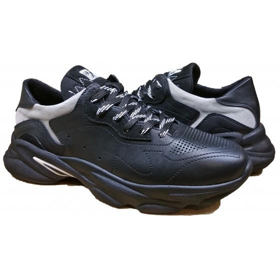 Кроссовки мужские кожаные 40-45 черный+серый