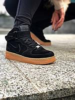 """Мужские зимние кроссовки Nike Air Force Winter """"Black""""(в стиле Найк Аир Форс) черные, натуральный замш, мех"""