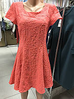 Платье кораловое  короткое молодежное 46-48 размер
