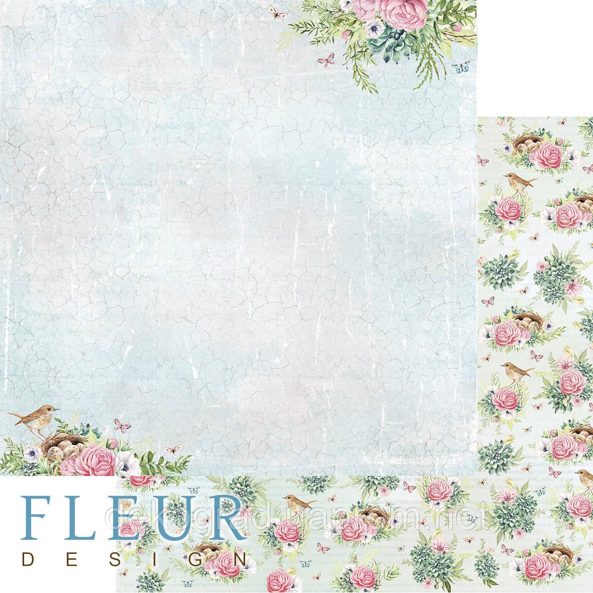 """Лист бумаги для скрапбукинга """"В тени цветов"""", коллекция """"Дыхание весны"""", 30,5х30,5 см, плотность 190 гр."""