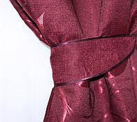 """Комплект готовых штор из ткани лён (2шт. 1,5х2,70м.) с узором """"листья"""", цвет бордовый. Код 458ш30-198, фото 1"""
