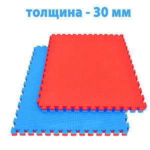 Спортивный мат (ТАТАМИ) 30 мм EVA (Турция), красно-синий