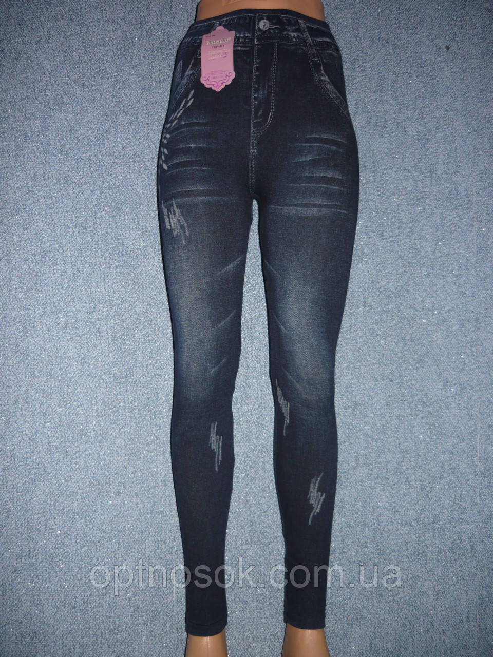 Бесшовные меховые термо лосины под джинс Натали. Норма. р. 44-48. С рисунком