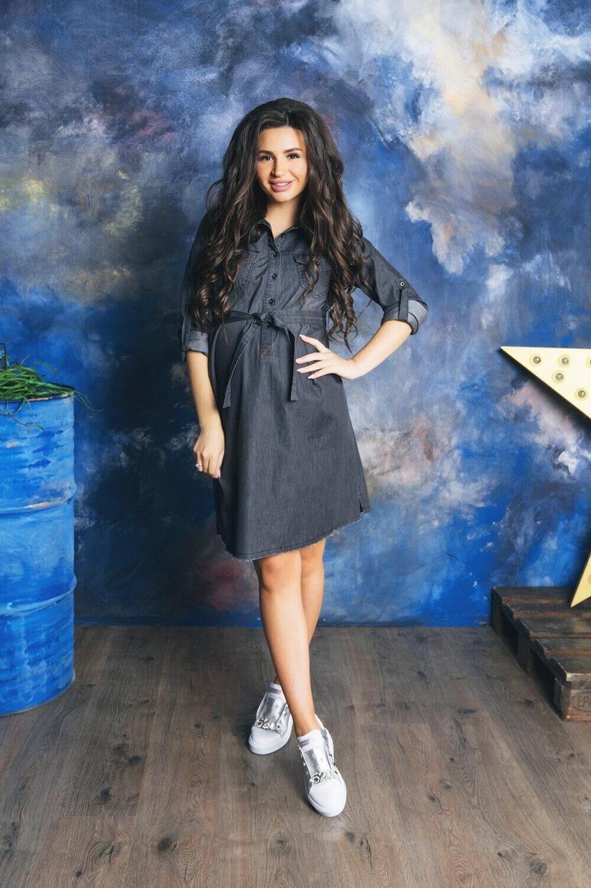 Черное джинсовое платье для беременных