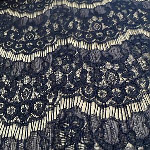 Ткань гипюр реснички плотный темно-синий