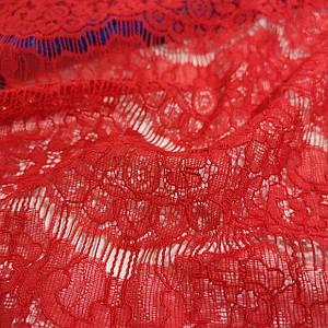 Ткань гипюр реснички плотный красный