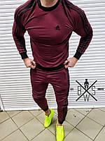 Свитшот мужской в стиле Adidas бордо  / кофта весенняя осенняя