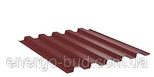 Профнастил кровельный НС 44 с полимерным покрытием 0,45мм 3011 (красный)
