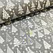 Ткань хлопковая, белые Новогодние елки на сером, фото 3