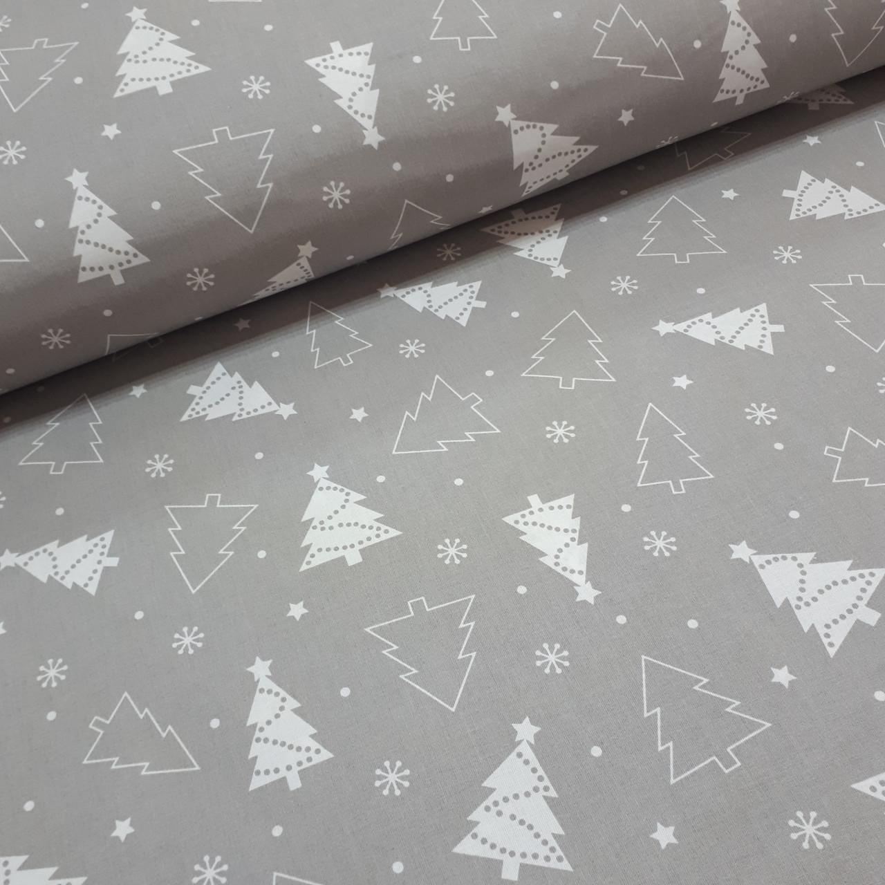 Ткань новогодняя хлопковая, белые елки на сером ОТРЕЗ (1.4*1.6)