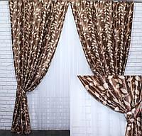 """Комплект готовых штор  блэкаут, """"Листочки"""". Цвет коричневый  447ш (А), фото 1"""
