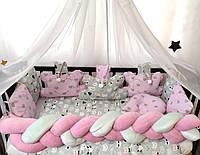 """Комплект постельного белья """"Косичка"""" с подушками и балдахином. Серо-розовый котики"""