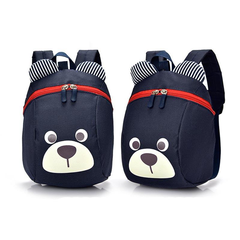 Рюкзак детский маленький, мишка. Синий с поводком.