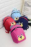 Рюкзак детский маленький, мишка. Синий с поводком., фото 3