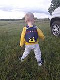 Рюкзак детский маленький, мишка. Синий с поводком., фото 5