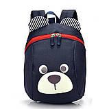Рюкзак детский маленький, мишка. Синий с поводком., фото 8