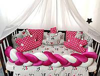 """Комплект постельного белья """"Косичка"""" с подушками и балдахином. Красный панды"""