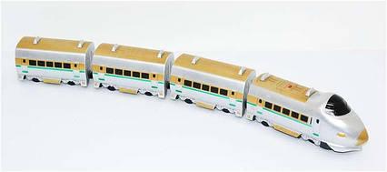 Поезд 757 Р (24) с 3-мя вагонами, звук, на бат-ке, длина поезда 75 см, высота 10 см, ширина 8 см, в слюде