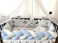 """Комплект постельного белья """"Косичка"""" с подушками и балдахином. Голубой"""