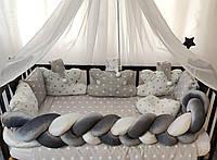 """Комплект постельного белья """"Косичка"""" с подушками и балдахином. Серый в звезды"""