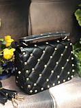 Женская стеганная сумка в стиле Vаlеntіnо (Валентино), черная, ЛЮКС, фото 2