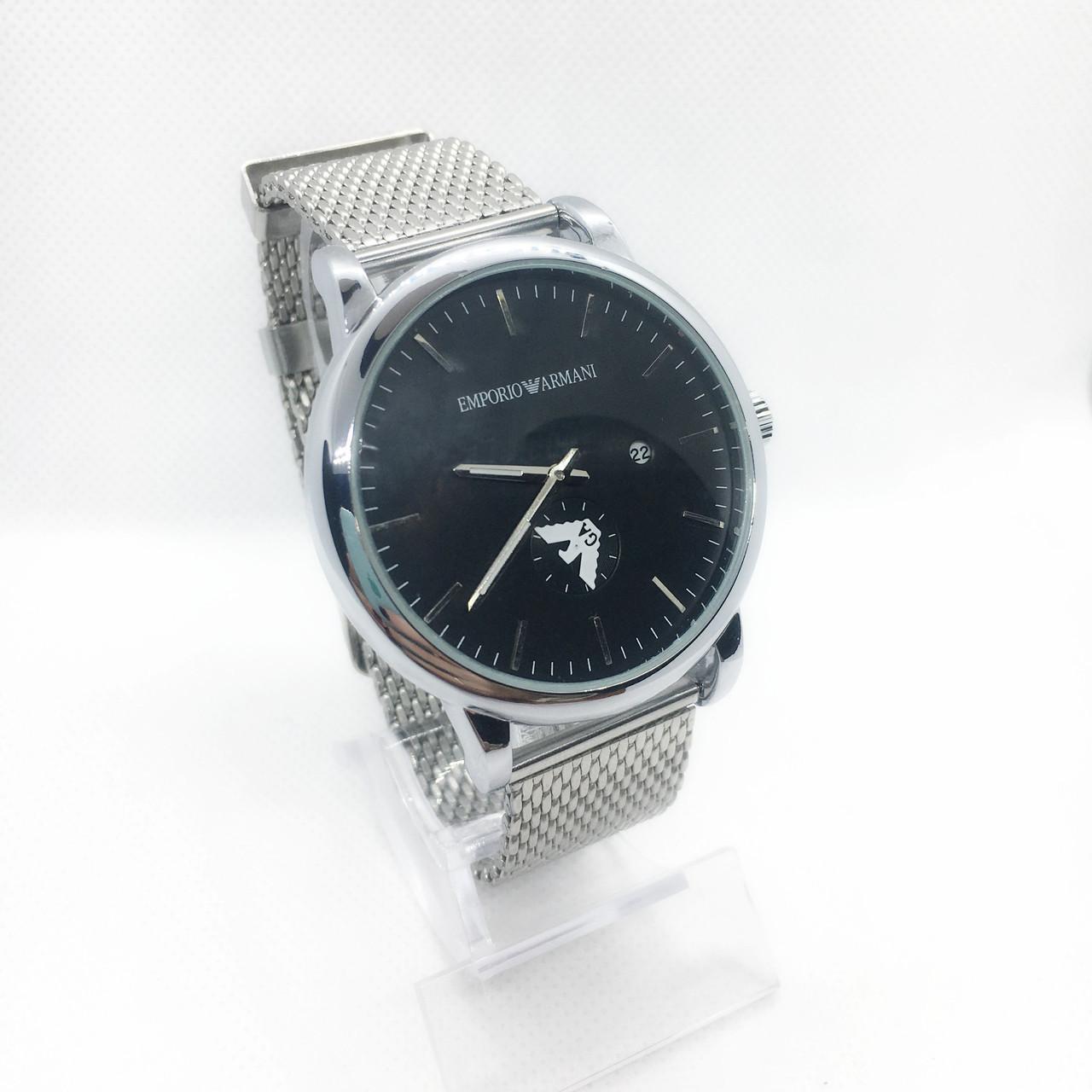 Мужские наручные часы Emporio Armani (Эмпорио Армани), серебро с черным циферблатом