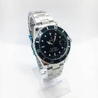 Женские наручные часы Rolex (Ролекс), серебро с черным циферблатом