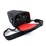 Сумка для фотоаппарата универсальная противоударная черная с красным, фото 10