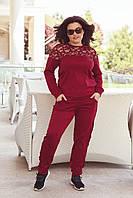 Костюм брючный женский большой размер с вставками Бордовый