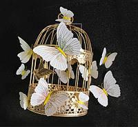 Об'ємні 3D метелики на стіну (шпалери) для декору Білі з жовтим орнаментом