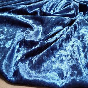 Ткань бархат-мрамор стрейчевый серо-голубой