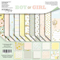 Набор двусторонней бумаги 20х20см от Scrapmir Boy or Girl