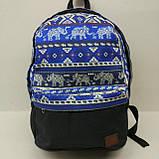 Рюкзак молодежный со слонами UKsport, черный с синим, фото 2