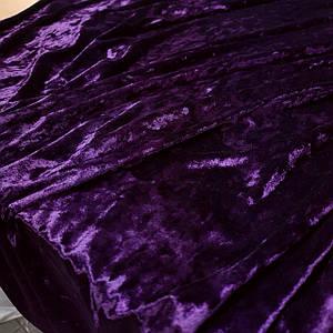 Тканина оксамит-мармур стрейчевий фіолетовий