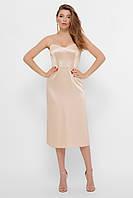 Бежевое атласное платье