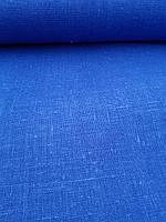 Льняная плотная мешковина ярко - синего цвета, фото 1