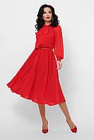 Платье шифоновое с юбкой полусолнцев красном
